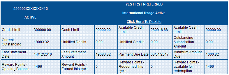 International Enable/Disable Yes Bank