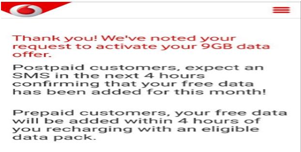 Vodafone 9GB Offer through My Vodafone App