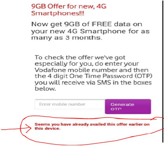 Vodafone 9GB Free Offer activation error