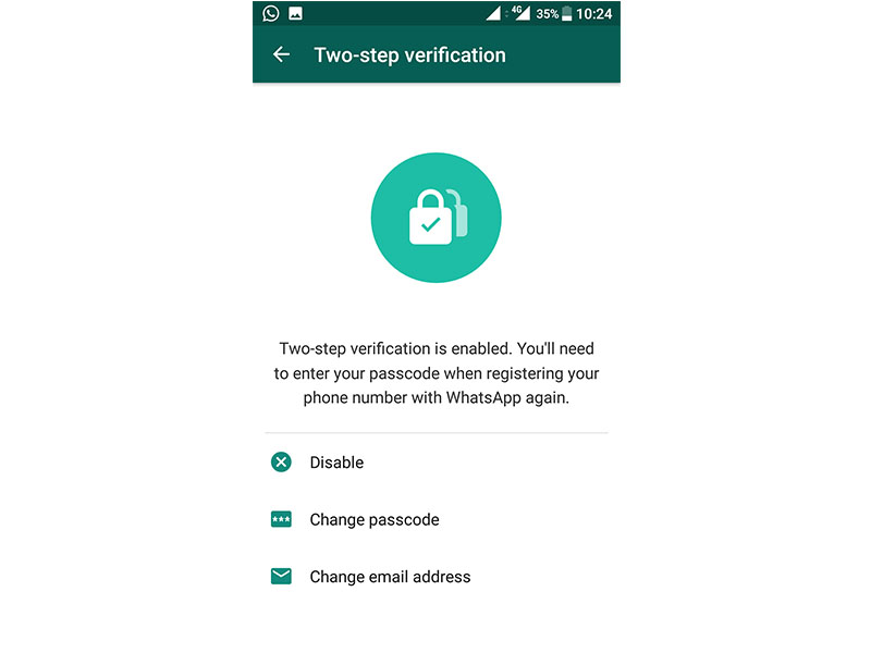 WhatsApp twp-step verification email
