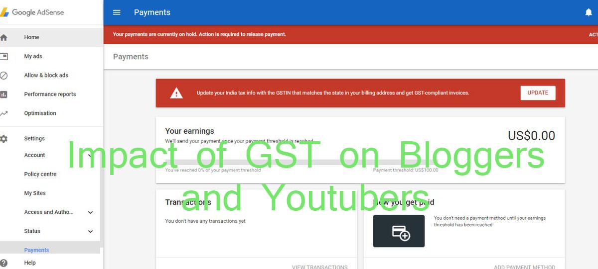 GST on Adsense